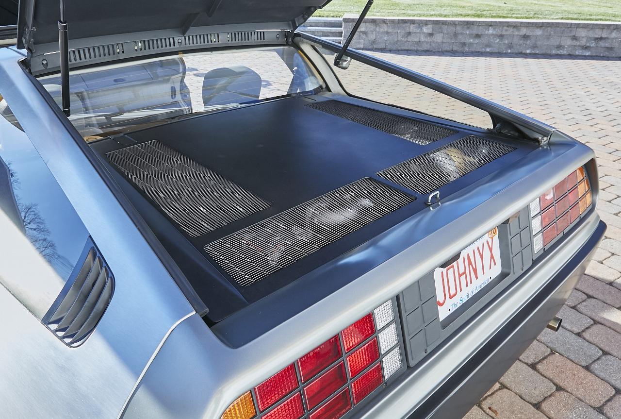 1981 DeLorean DMC-12 5-Speed rear trunk lid open