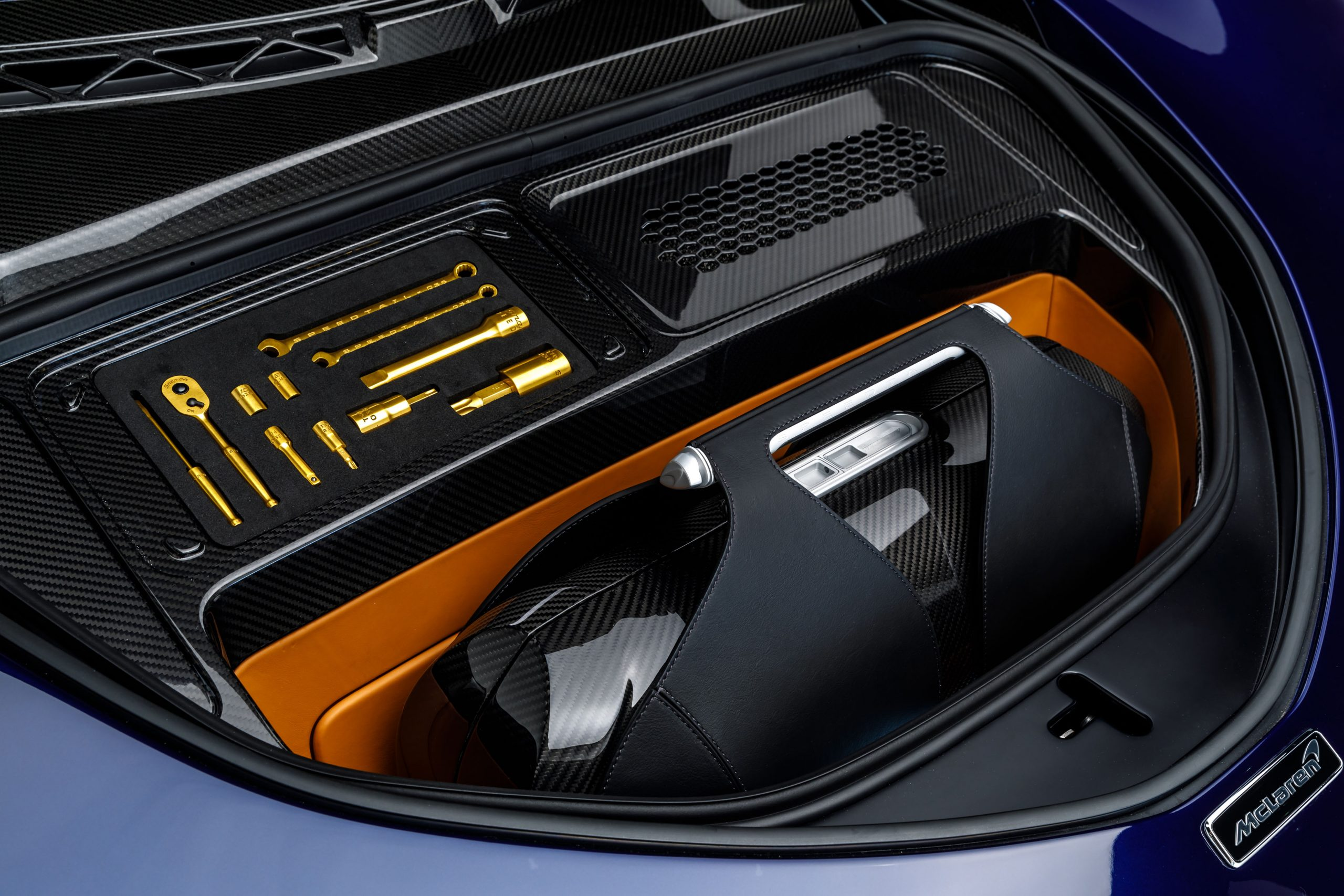 McLaren Speedtail carbon fiber front trunk and tools