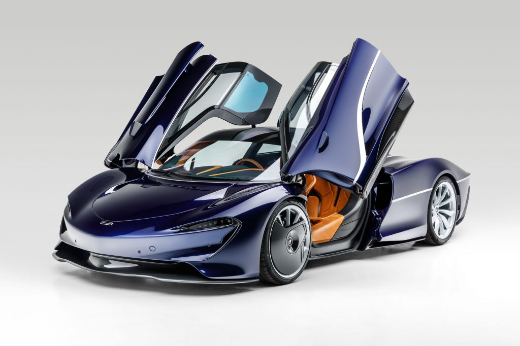 McLaren Speedtail front three-quarter doors up