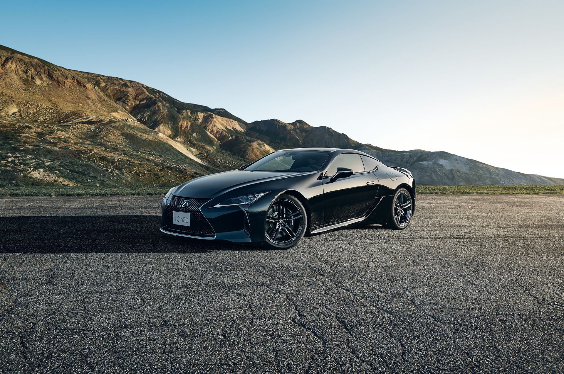 2021 Lexus LC 500 Inspiration Series front three quarter in mountains