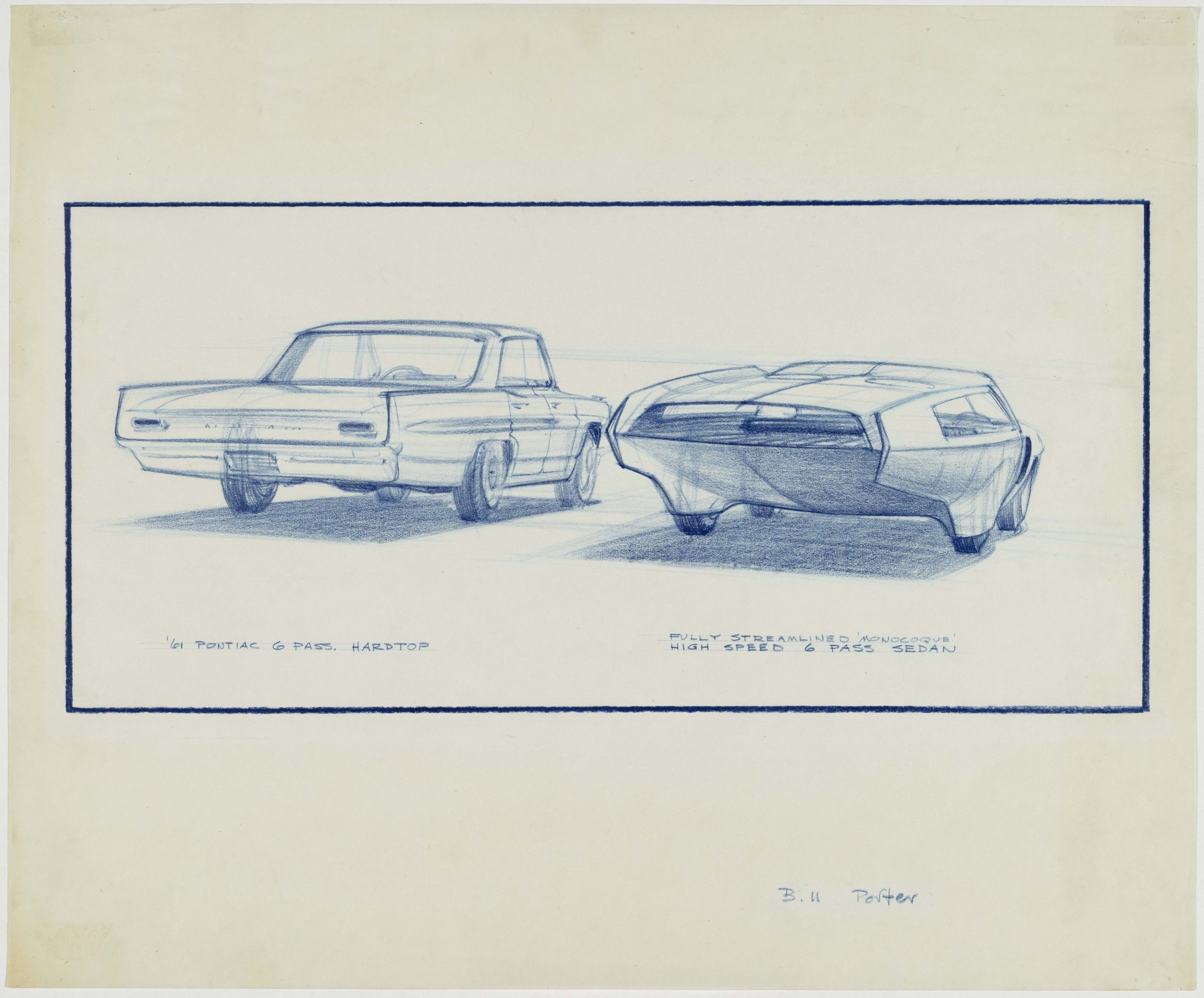 prismacolor on vellum drawing rear design study