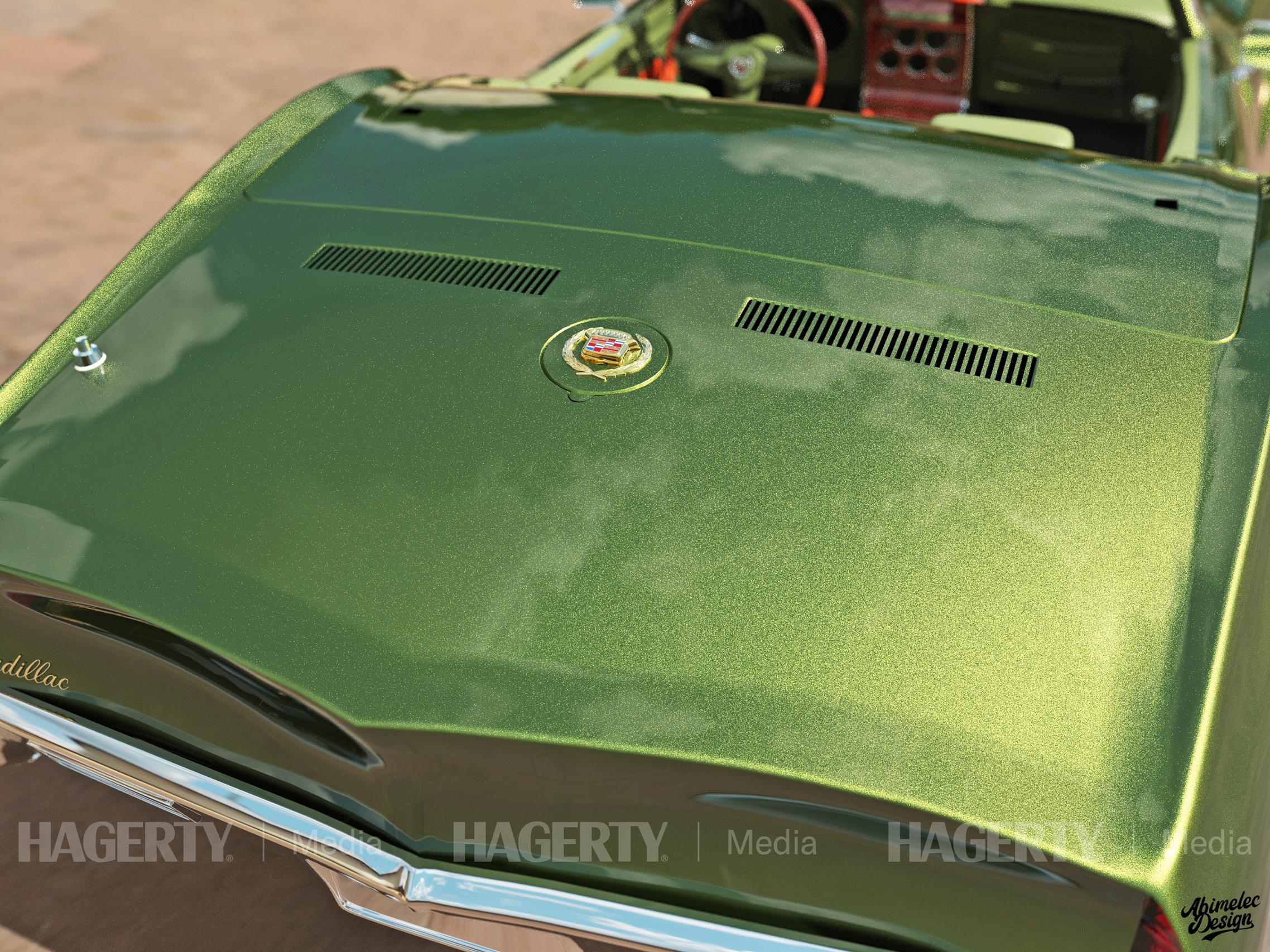 68 Cadillac Roadster DeVille rear gas cap emblem