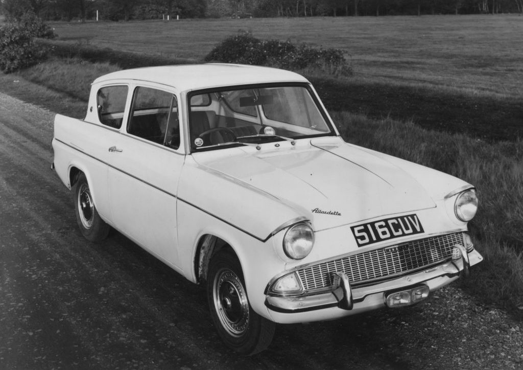 Allardette supercharged Ford Anglia front three-quarter