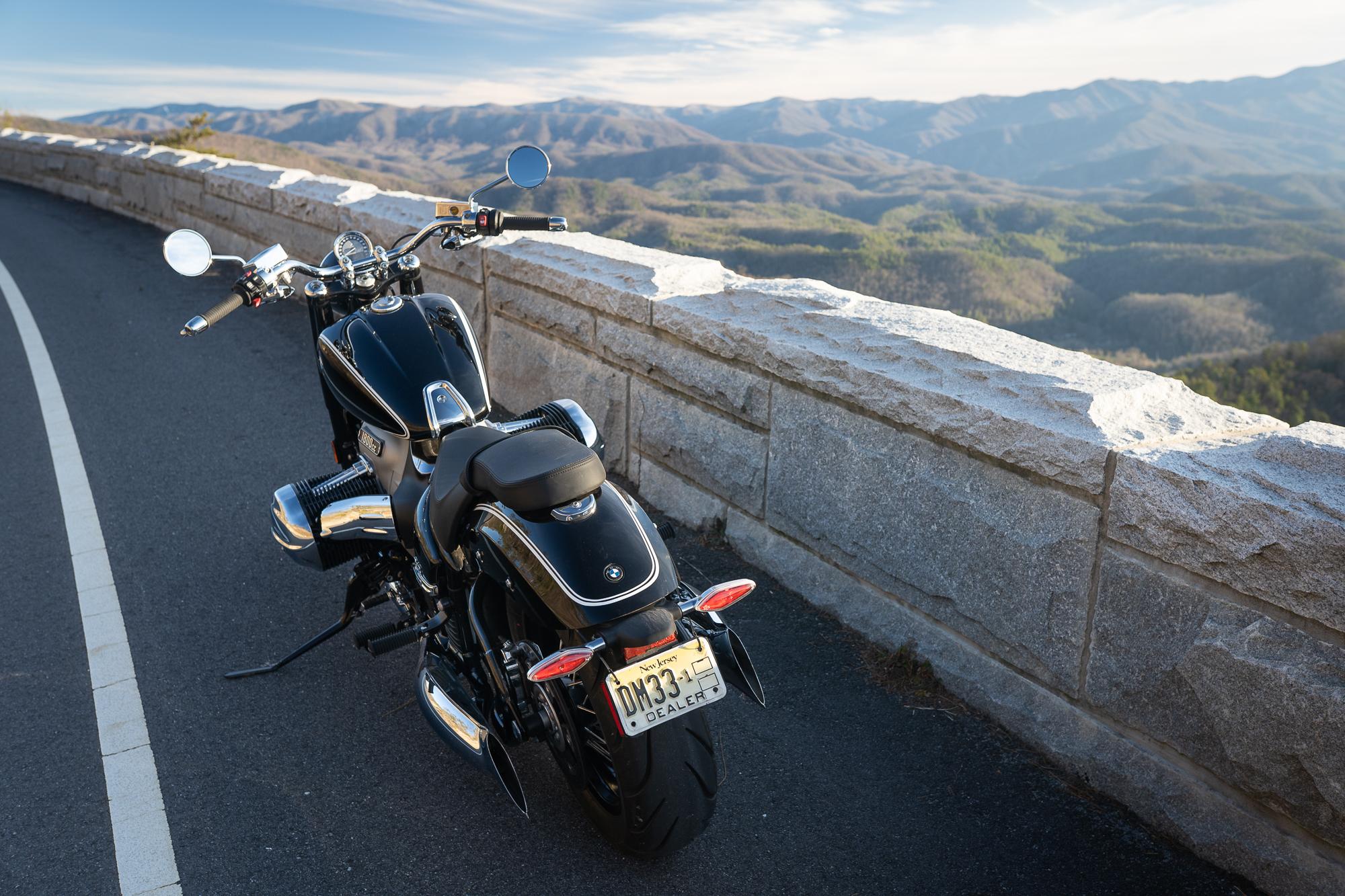 BMW R 18 motorcycle rear roadside mountain view