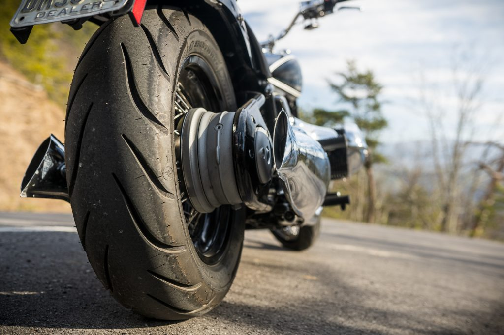 BMW R 18 motorcycle rear wheel tire detail