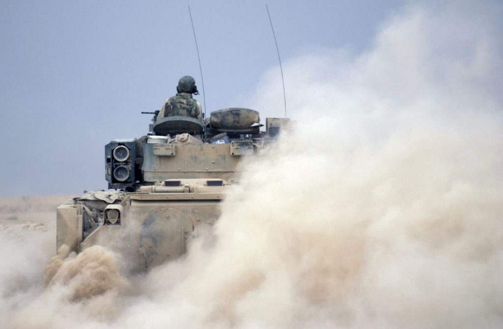 U.S. Army Bradley Infantry Fighting Vehicle in action