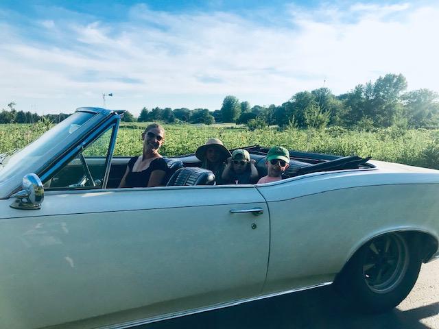 GTO convertible family in car