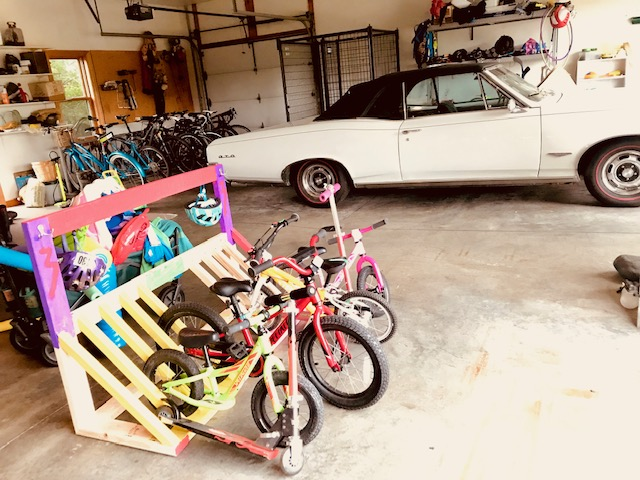 GTO convertible in family garage