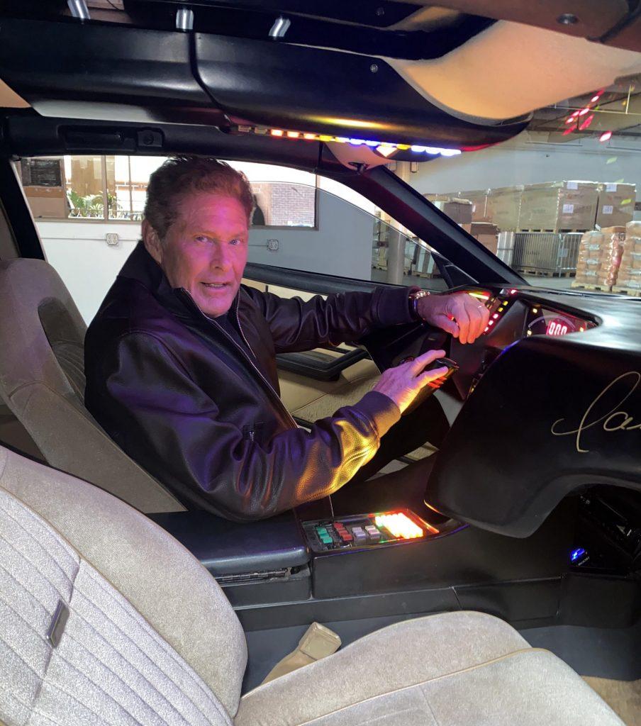 David Hasselhoff Knight Rider Car interior behind wheel