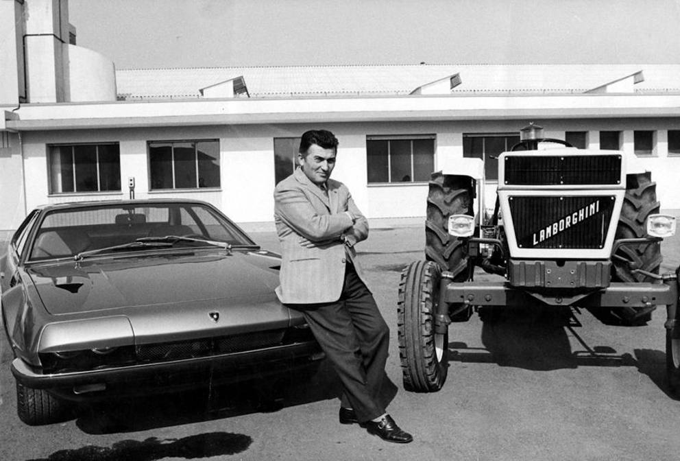Ferruccio Lamborghini with lamborghini tractor and car