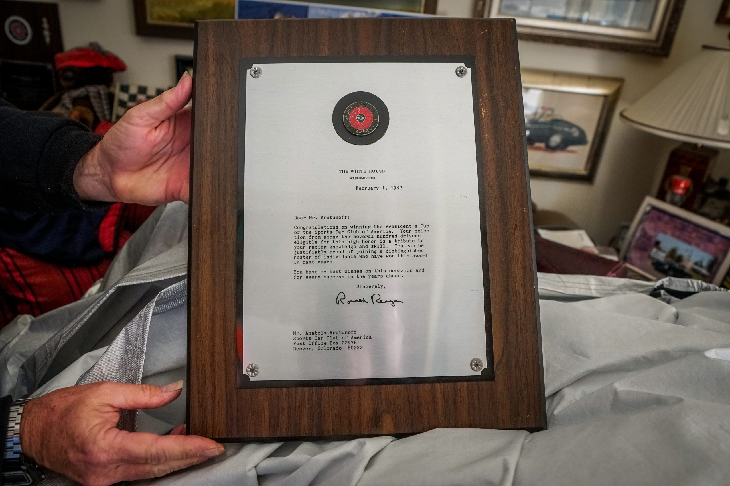 toly arutunoff reagan letter plaque