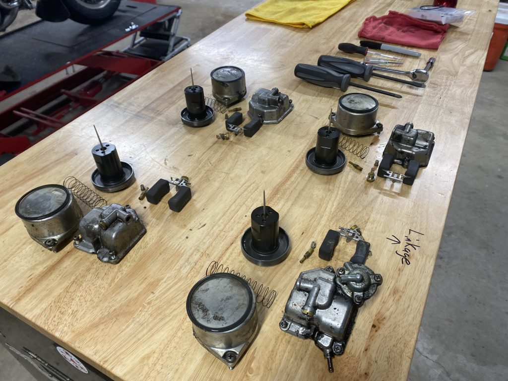 Goldwing carbs disassembled