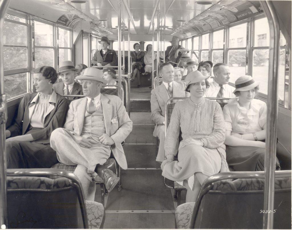 double decker bus interior during world war two era