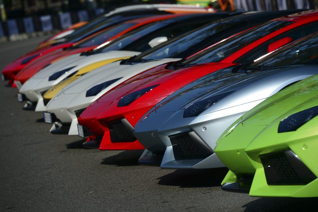 Lamborghini sports cars parked Milan Sforza castle