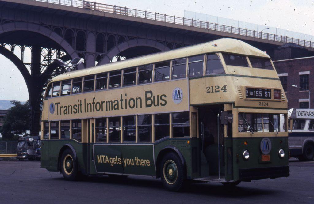 Transit Info Bus MTA Double Decker front three-quarter