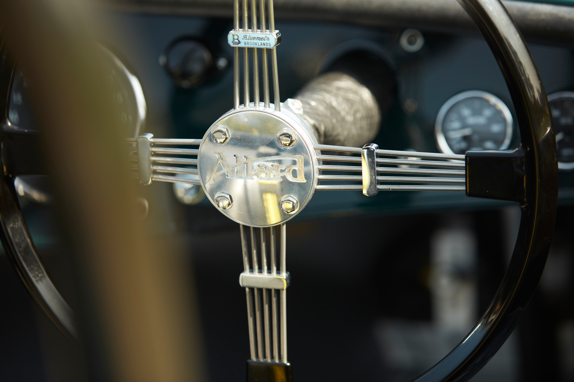 Allard JR continuation car steering wheel detail