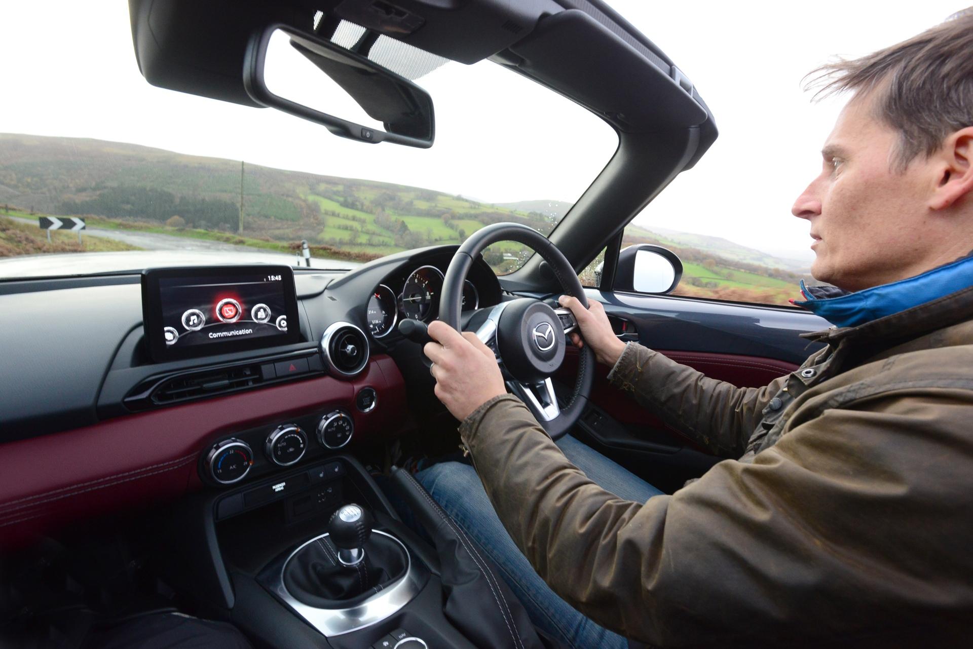 Mazda MX-5 R-Sport interior behind wheel action