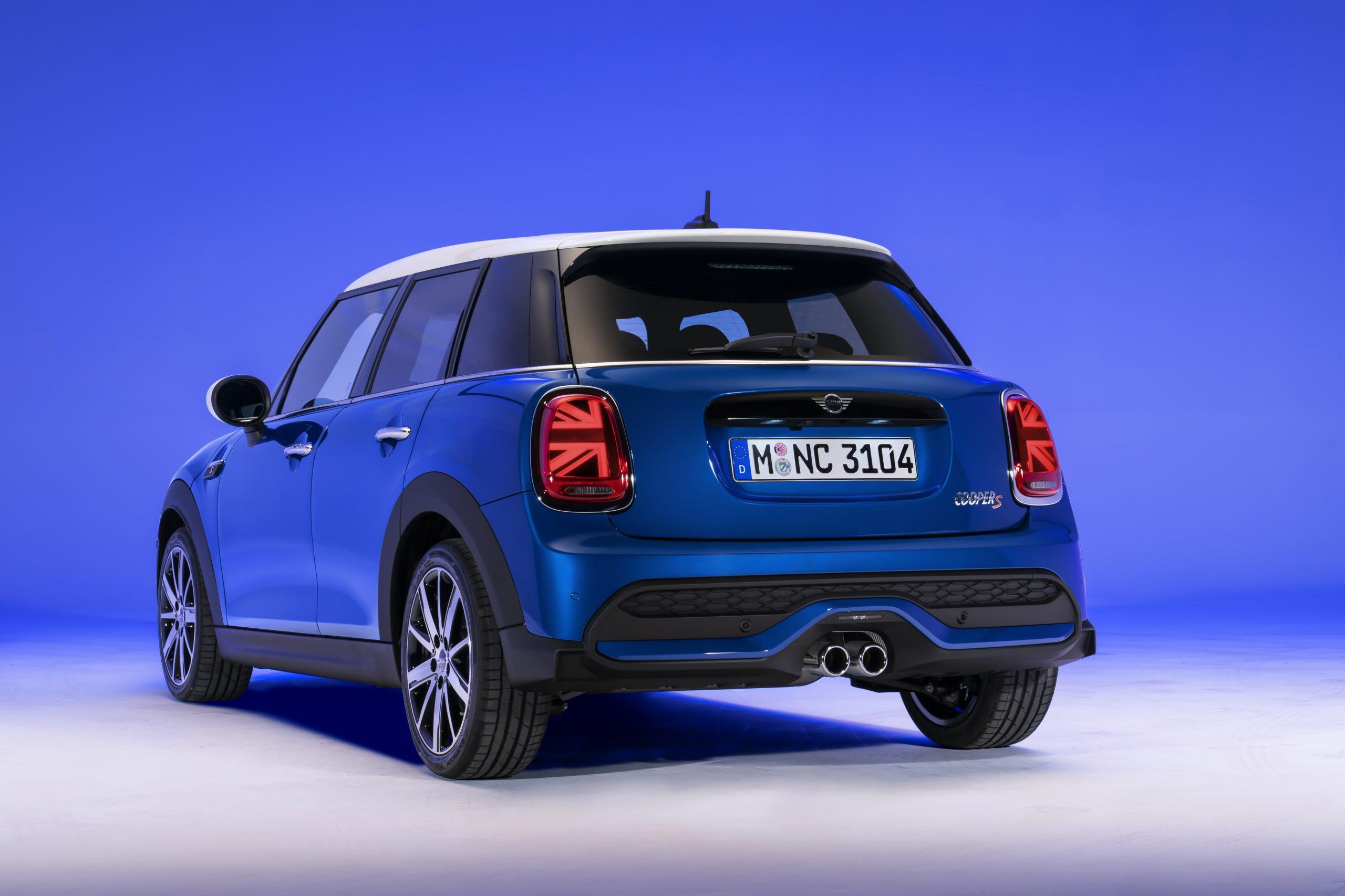 2022 Mini Cooper S Island Blue hardtop rear four door
