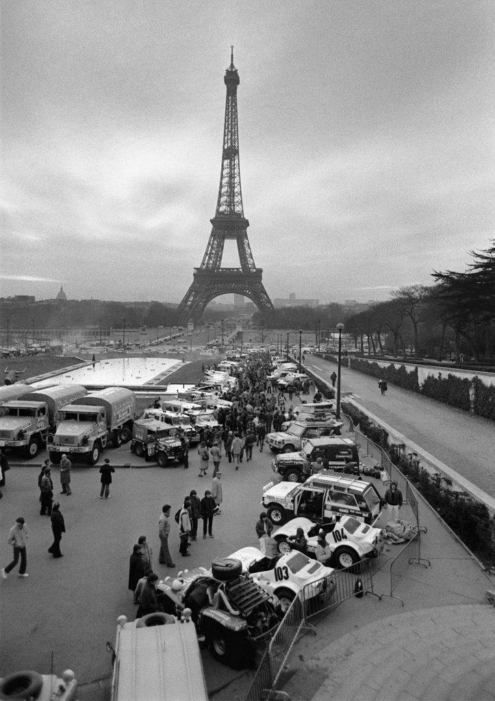 1980 paris dakar rally start eiffel tower backdrop