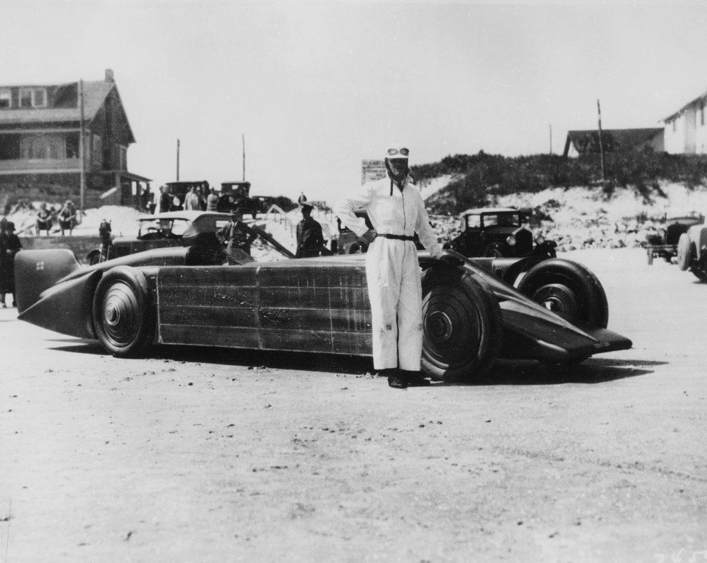 Henry Segrave with Golden Arrow Daytona Beach Florida USA