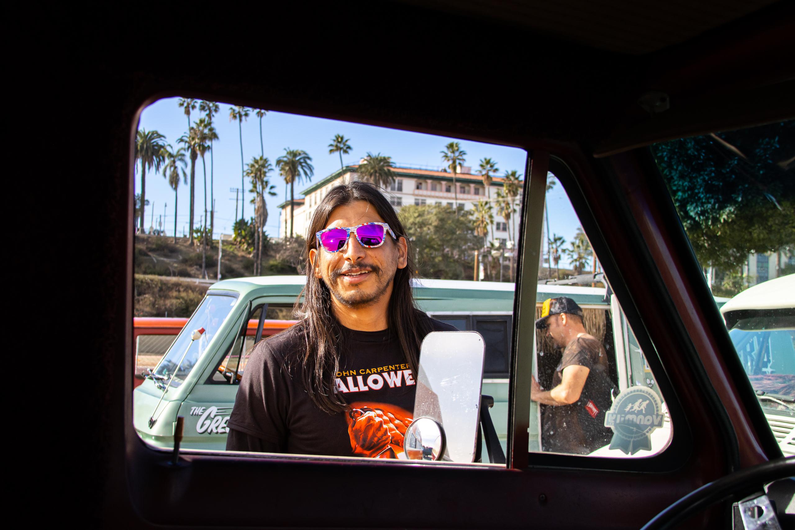 So-Cal Slow Ride Van Run shades long hair good vibes