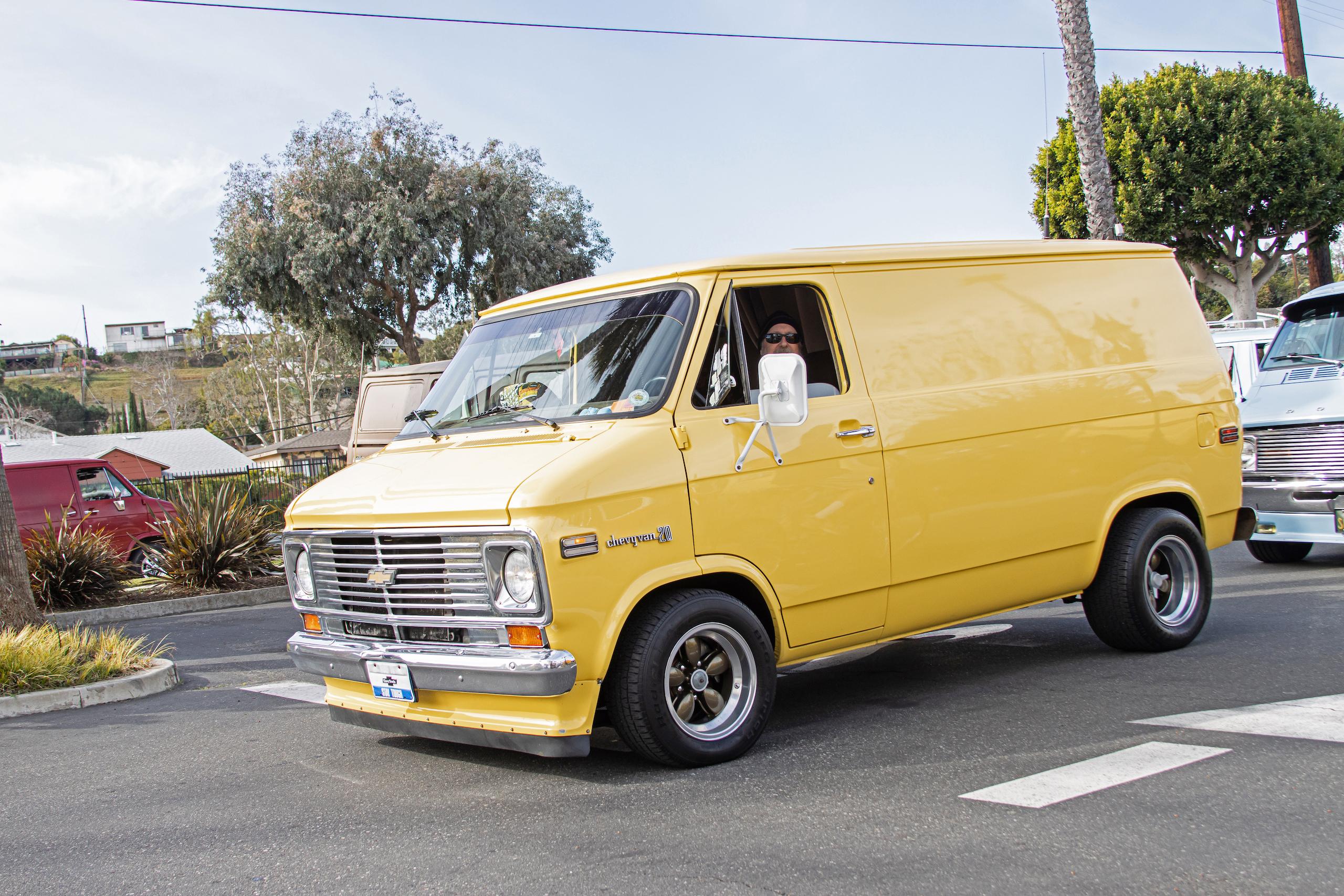 So-Cal Slow Ride Van Run yellow chevy custom
