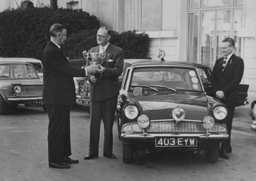 Sydney Allard receives award 1963 Monte Carlo Rally