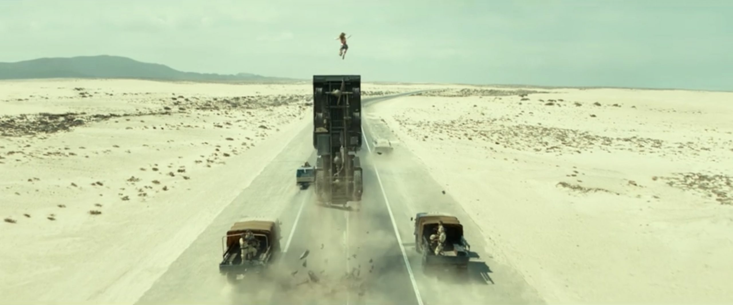wonder woman truck launch chase scene action