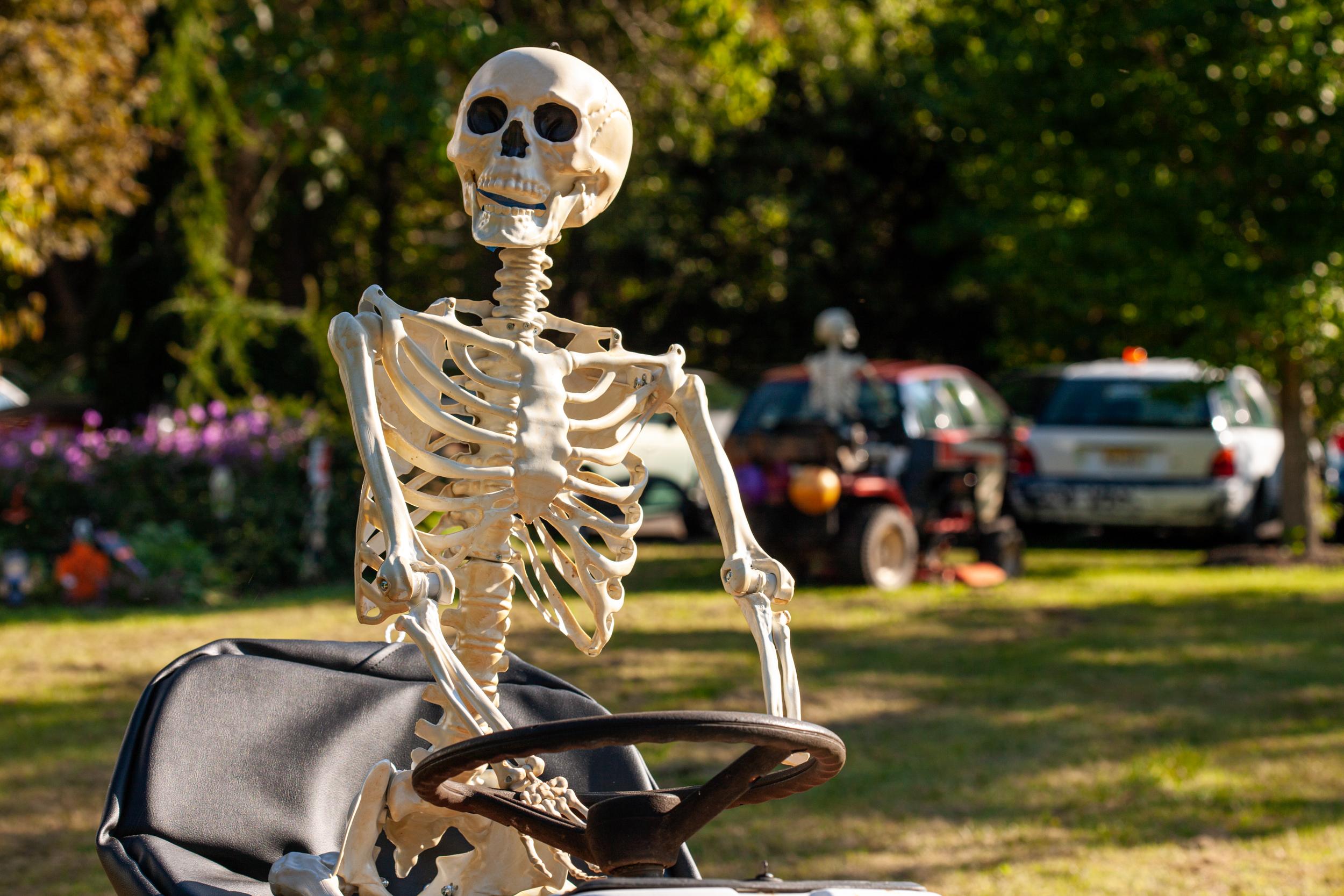 skeleton bones on riding lawn mower close