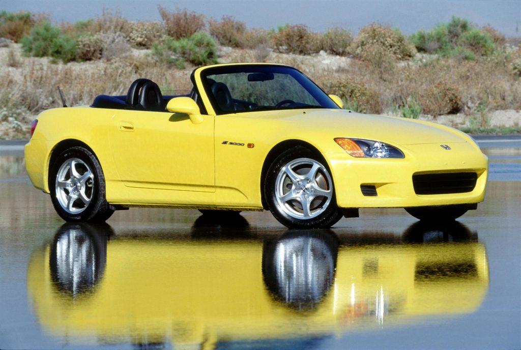 2001 Honda S2000 front three-quarter spa yellow
