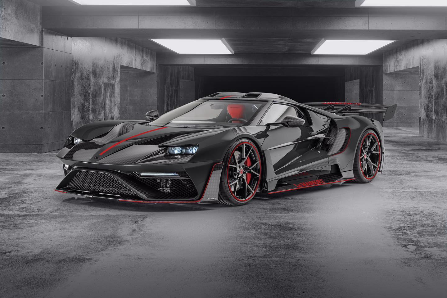 Le Mansory Ford GT black and red front three quarter