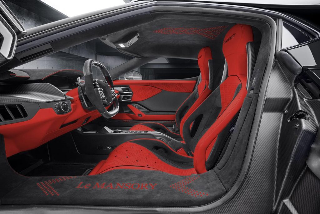 Le Mansory Ford GT black and red interior