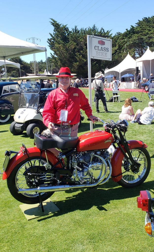 1952 Vincent Rapide and owner at bike show