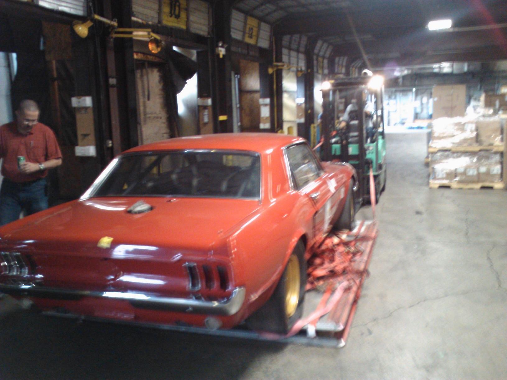 1967 Holman-Moody Mustang Batman loaded on pallet rear