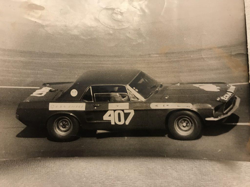 1967 Holman-Moody Mustang Batman historical black white side profile