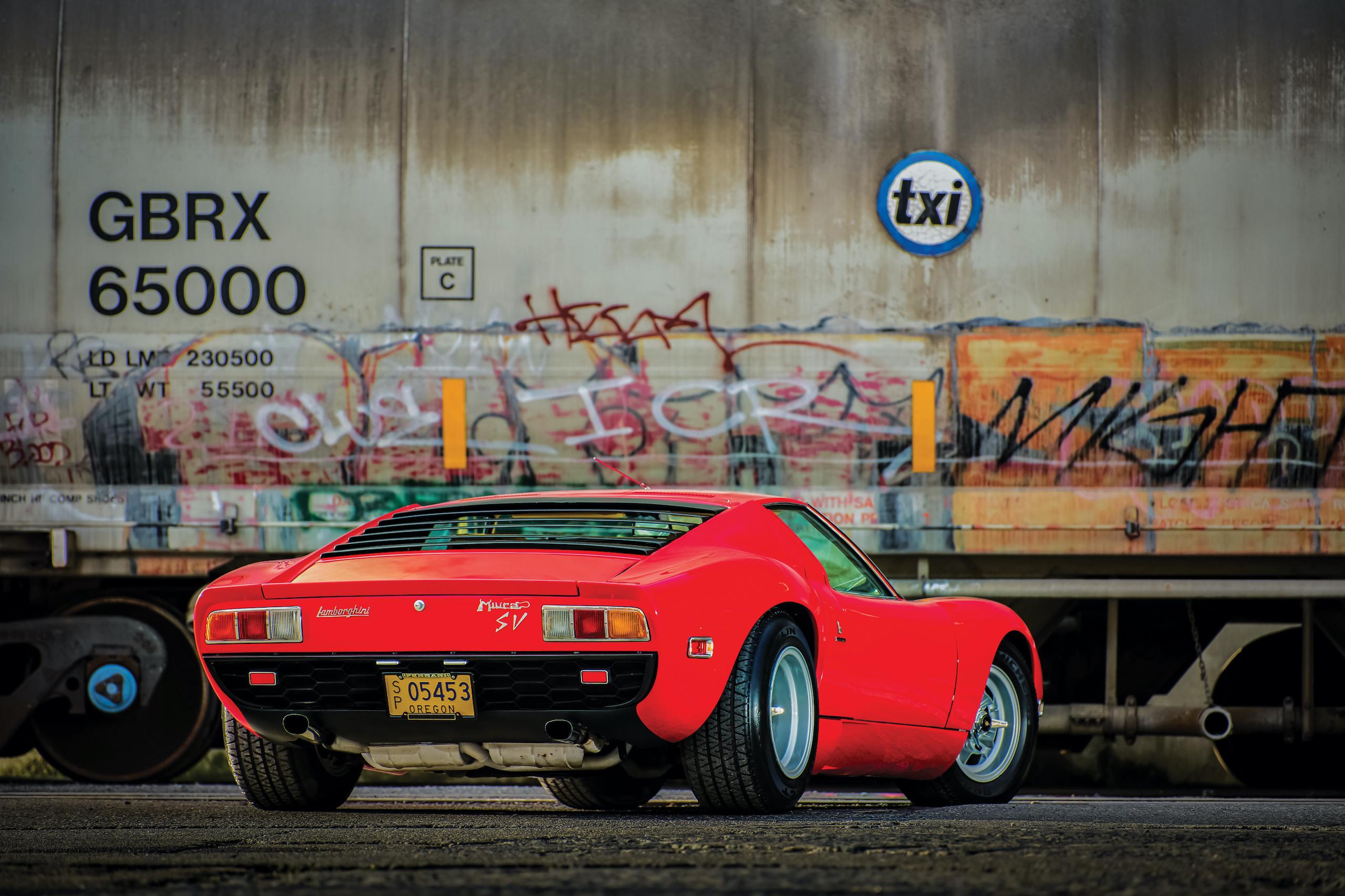 1971 Lamborghini Miura P400 SV rear three-quarter