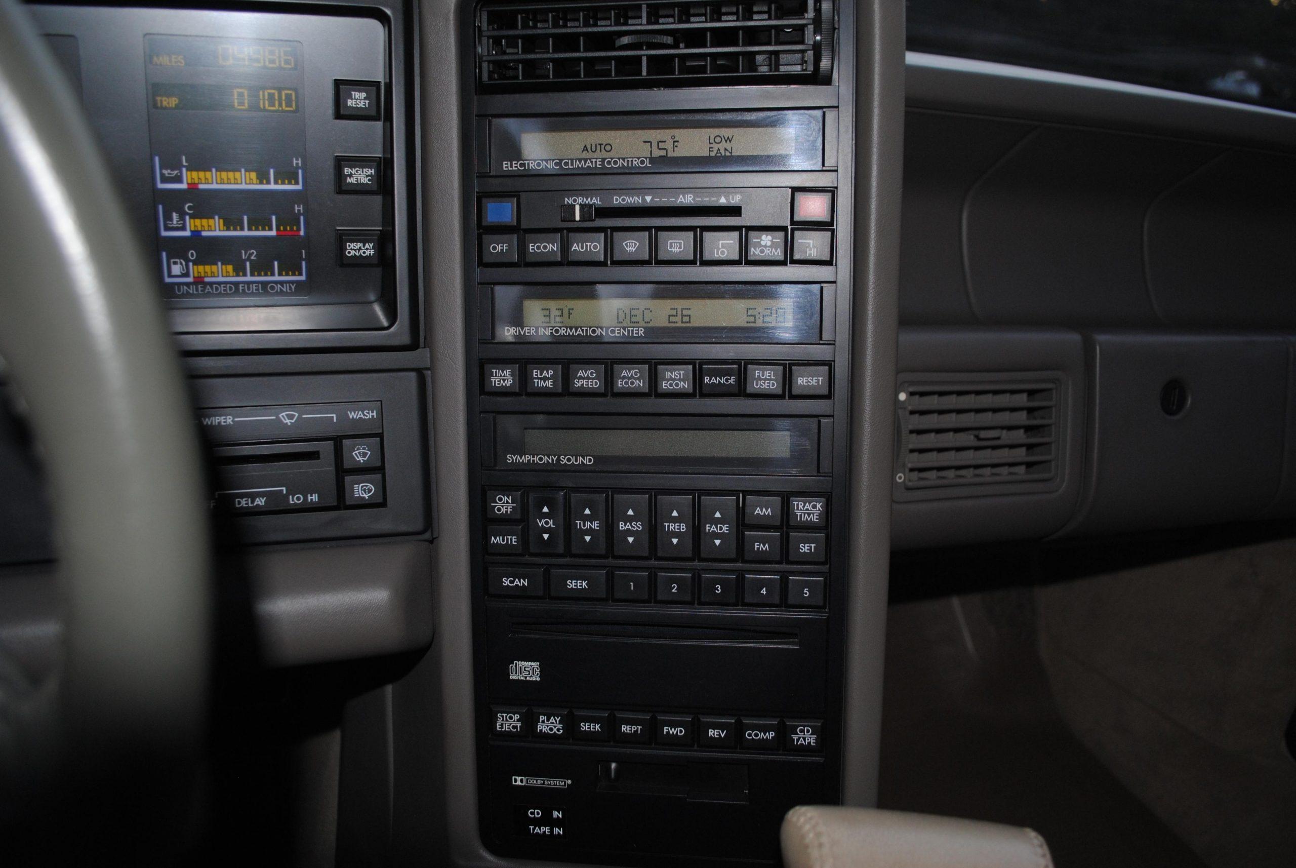 1993 Cadillac Allante interior center dash panel