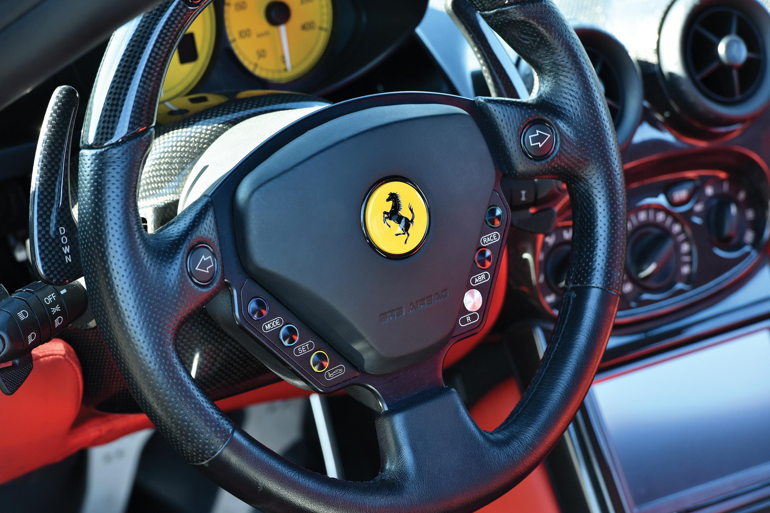2004 Ferrari Enzo interior steering wheel detail