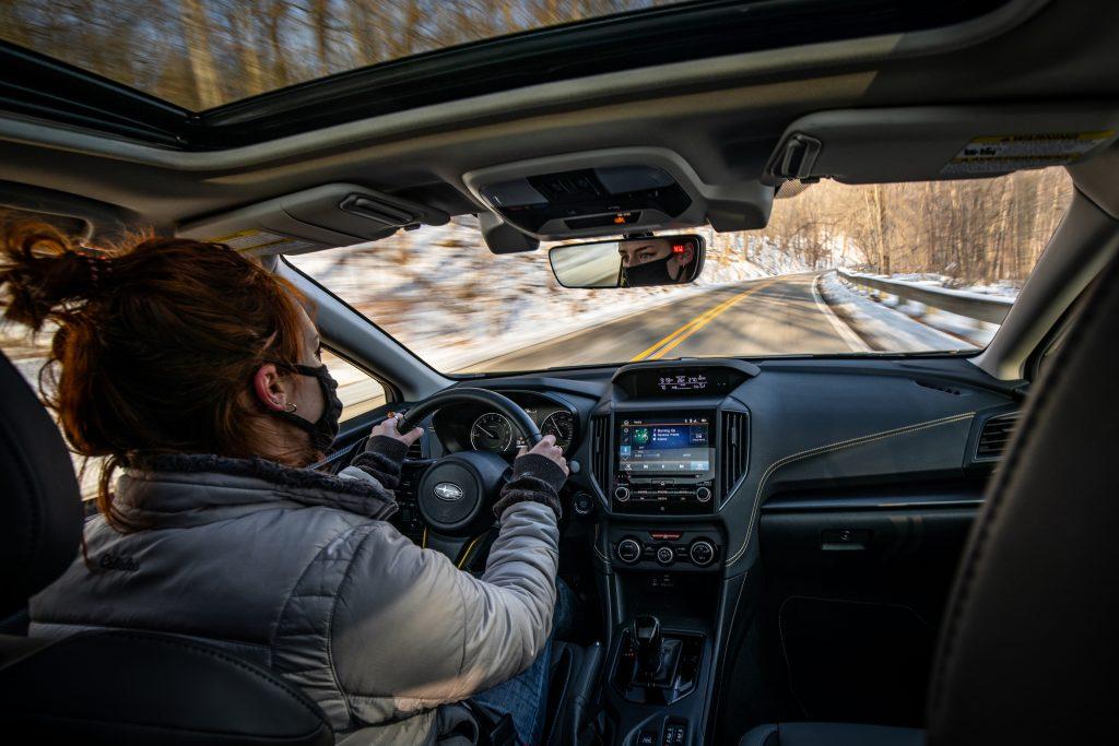 Subaru Crosstrek Sport interior driving action