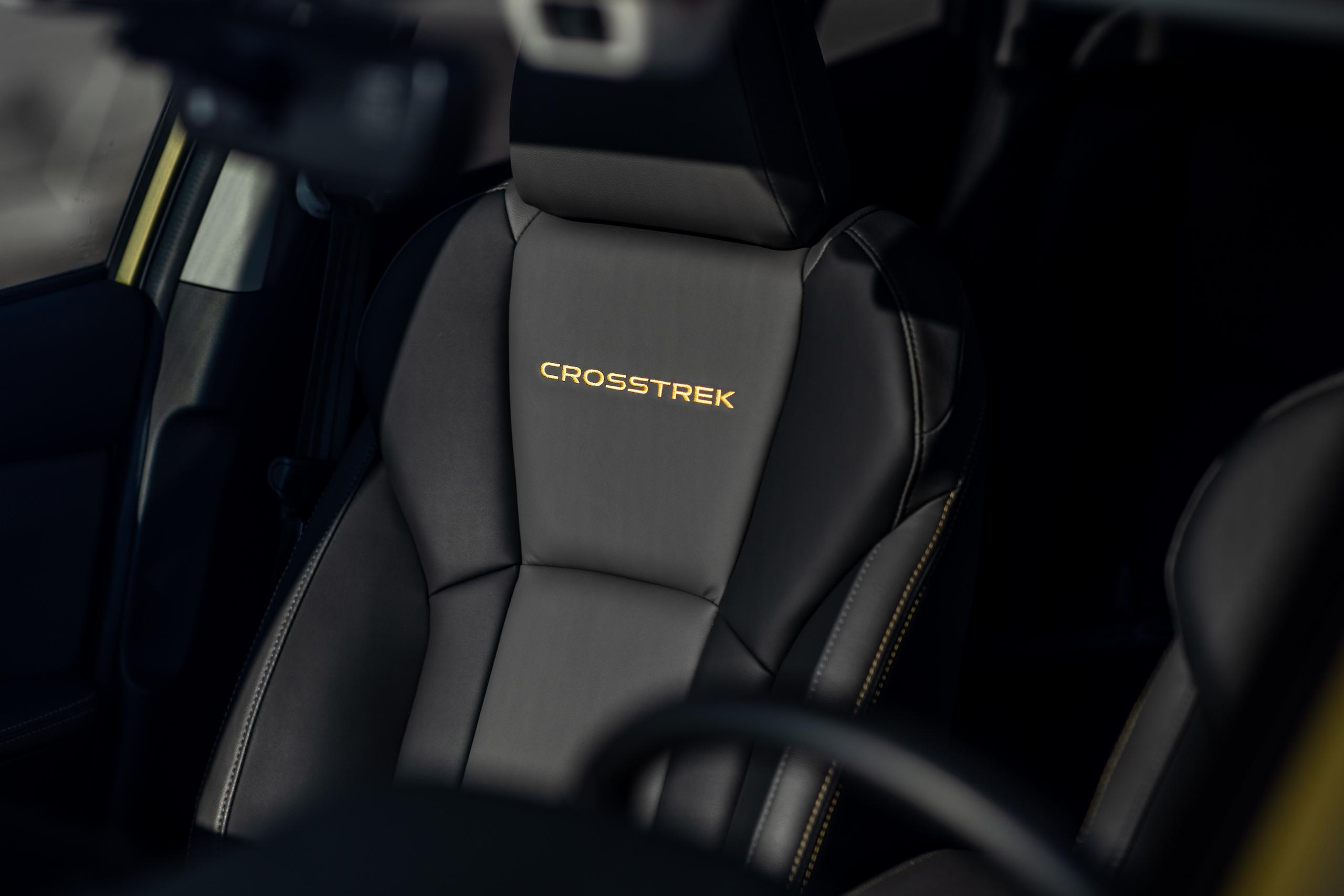 Subaru Crosstrek Sport interior seat embroidery script letter detail