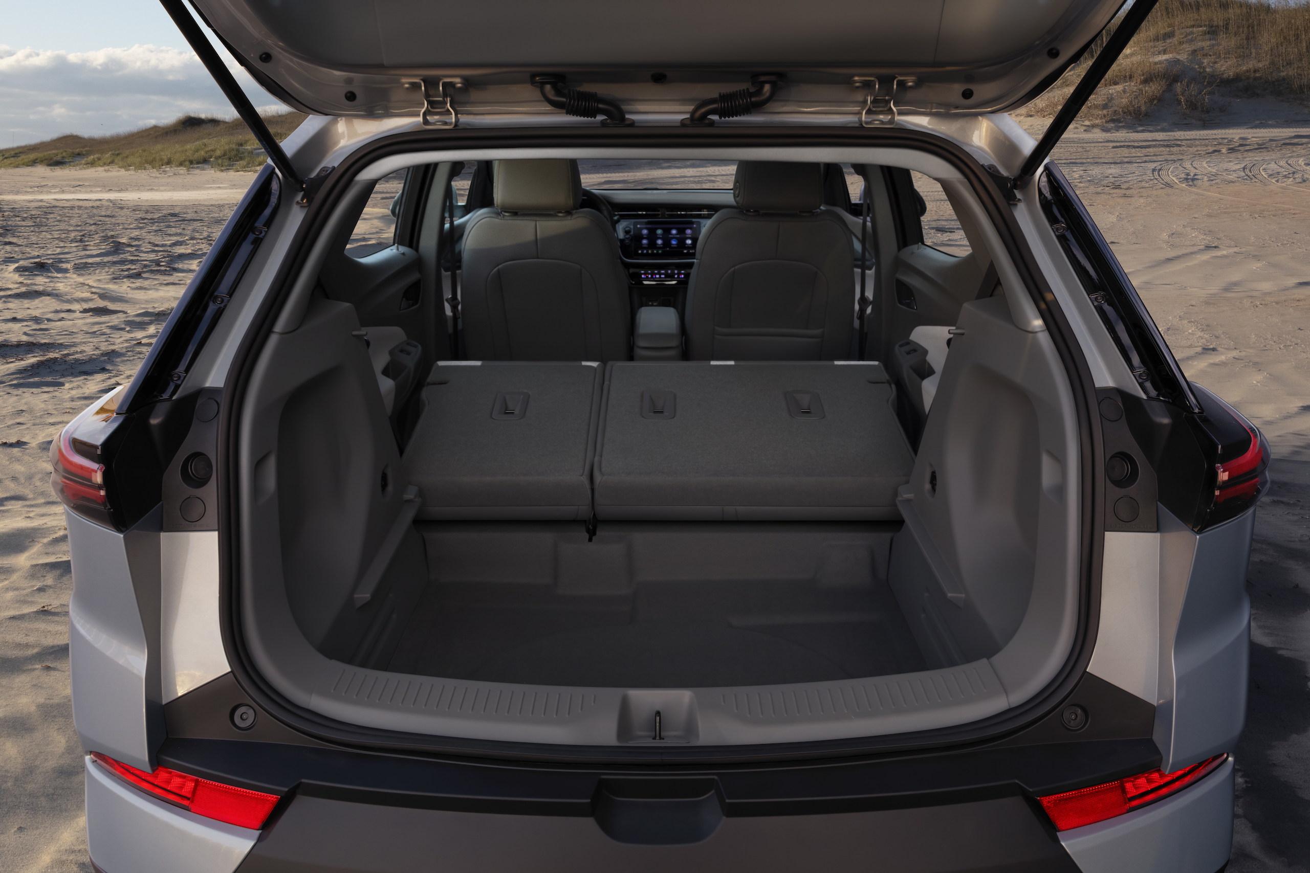 2022 Chevrolet Bolt EUV rear cargo seats folded tray removed