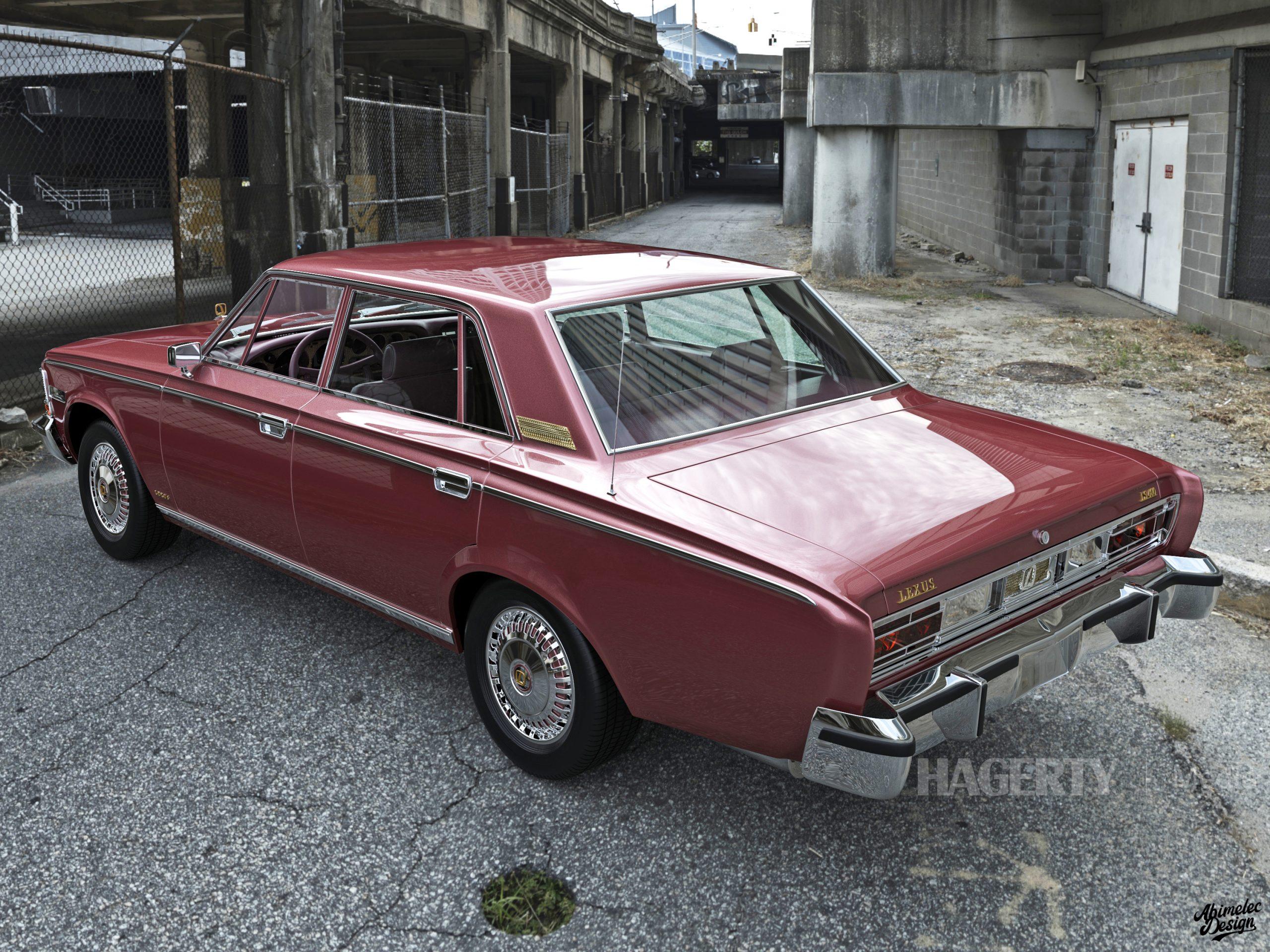 What If 1973 Lexus LS400 rose rear three-quarter