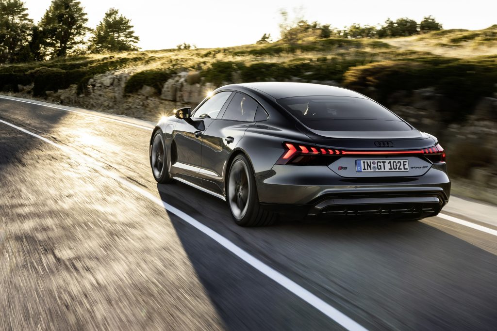 2022 Audi e-tron GT driving road rolling rear
