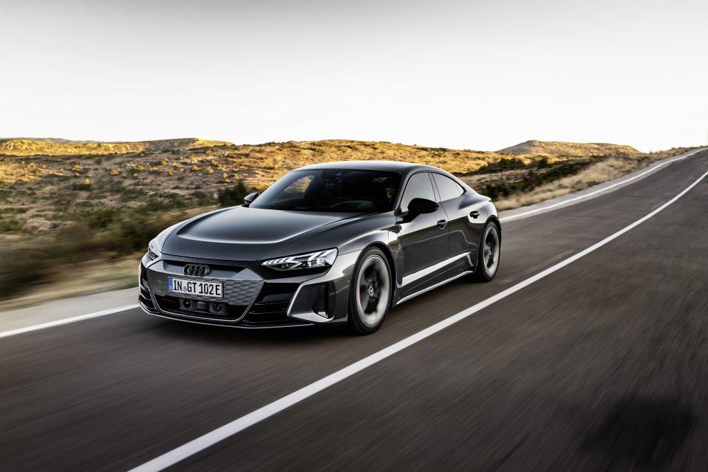 2022 Audi e-tron GT driving road rolling