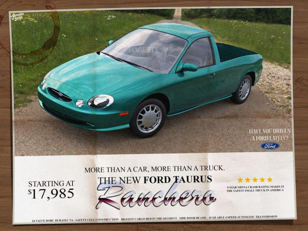 Ford Taurus Ranchero ad render mockup