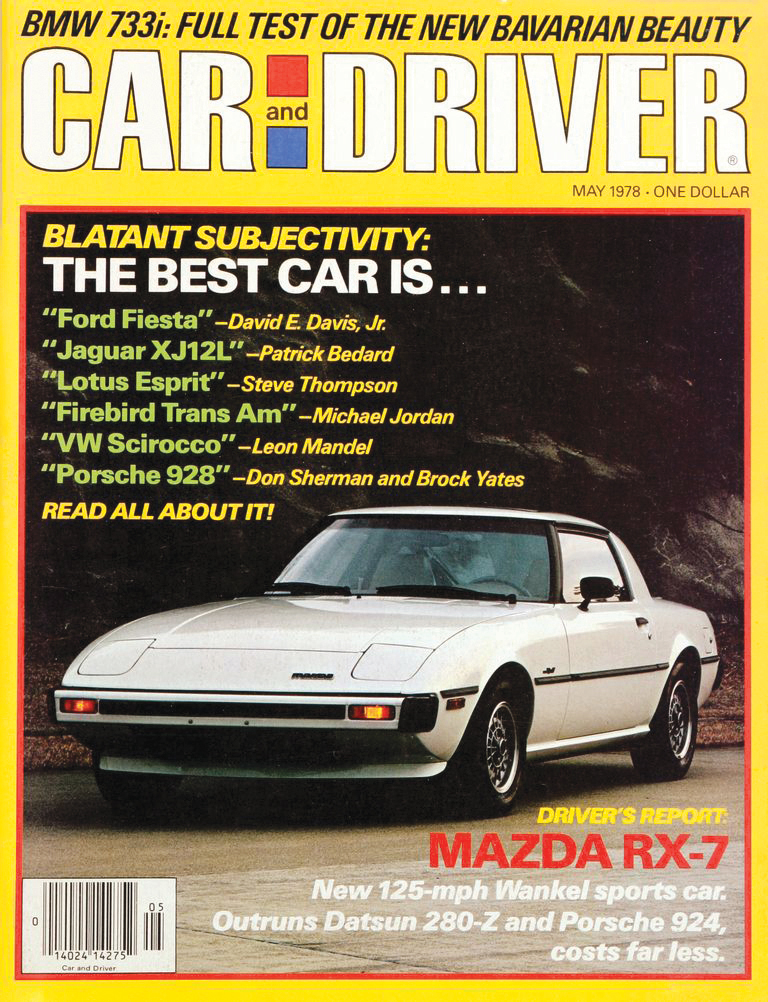 Car and Driver Magazine cover may 1978 featuring mazda rx-7