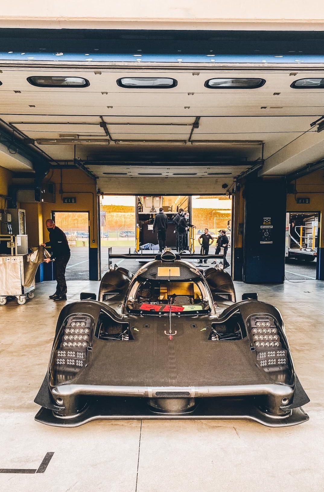 Glickenhaus 007 LMH testing Vallelunga 2021 reveal nose garage