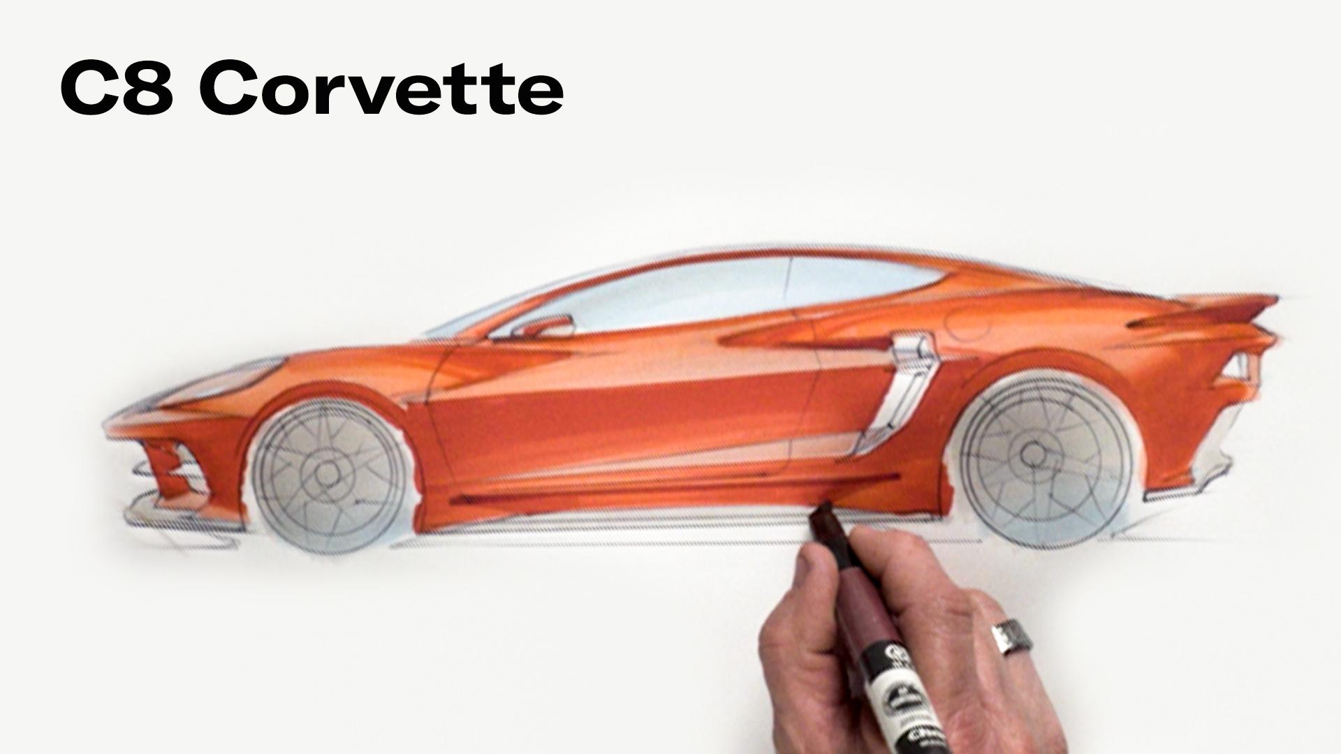 Chip Foose draws a Chevy Corvette C8