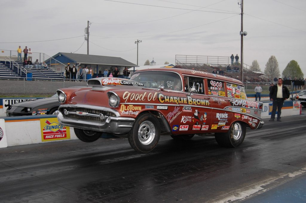 IHRA gasser action take off on two wheels