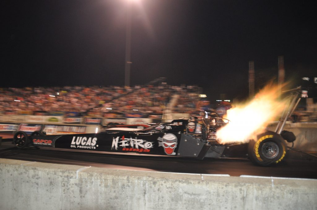 IHRA drag car take off action flame